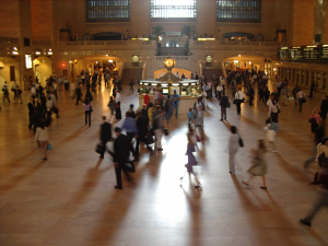Commuters travelling through Central Station, New York